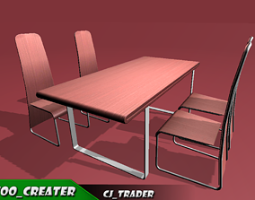 low-poly Modern Dining Table Low-Poly 3D Model
