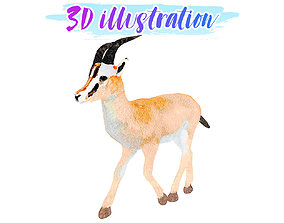 3D model Low Poly Gazelle 2 Illustration Animated - Game 1