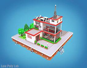Cartoon City Block Office Parking 3D model