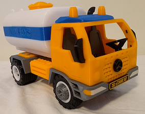Tank truck toy - fully 3D printable - assembly car