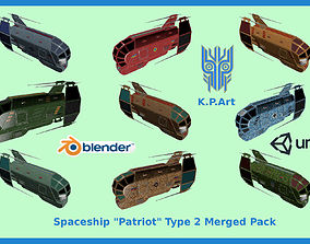 Spaceship Patriot Type 2 Merged Pack 3D model
