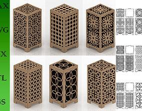 Wooden Lamp pack Laser Cut desk lamp lampshade 3D asset