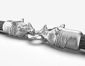 3D printable model End pieces for bracelets Rhinoceros 5