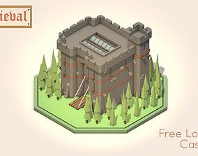 3D asset Free Low Poly Medieval Castle Scene