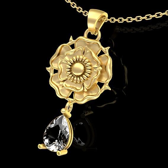 Flower Rose Pendant Jewelry Gold 3D print model
