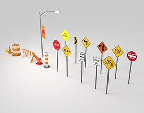 Traffic Sign Boards 3D asset