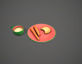 Santa Snack Plate - Green Cup and Red Plate 3D model