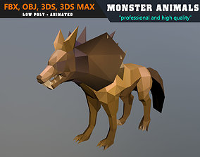 Low Poly Wolf Cartoon Monster Animated - Game 3D model