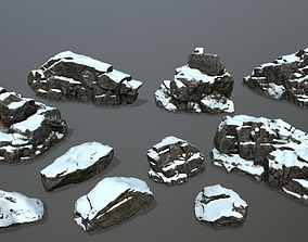 snow rocks 3D model low-poly