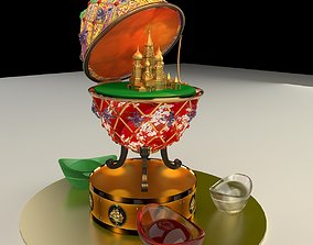 3D Chinese Gold Ingot with Russia Faberge egg