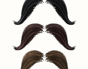 3D asset Mustache Low Poly 4