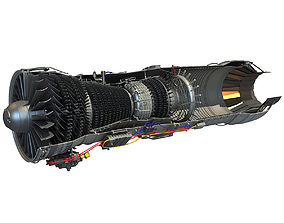 Turbofan Aircraft Engine Cutaway 3D model
