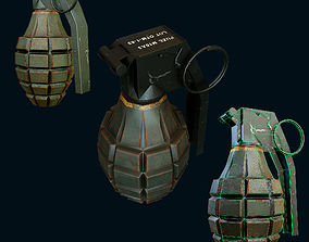 Mk2 Hand Grenade Bomb Gaming Model game-ready