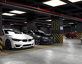 Car Parking Area 3D Model Vray Settings and PSD