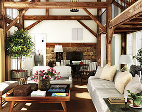 3D model cozy rustic countryside living room big wood 2