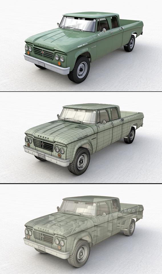 DODGE POWER WAGON CREW CAB TRUCK 1964 3D