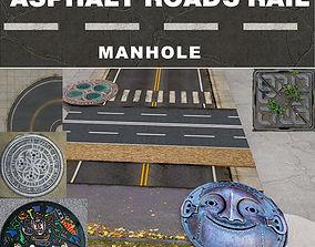 3D asset ROAD - MANHOLE - ASPHALT - PARKING - TEXTURE 2
