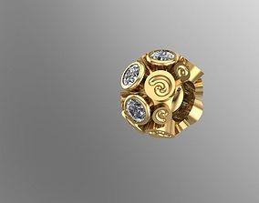 3D printable model spiral-stoned charm ball