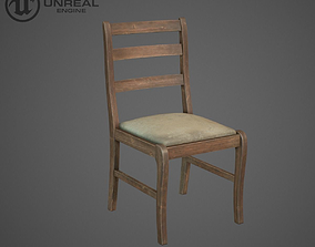 3D asset Wooden chair old
