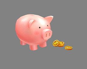 Cartoon piggy bank 3D model