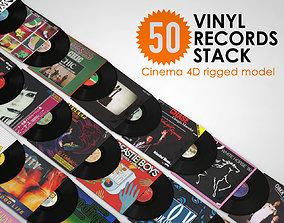 3D model 50 Vinyl Records Stack rigged