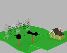 VR / AR ready electric power tower 3D model