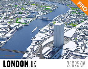 game-ready London City And Surroundings Low Poly 3D Town