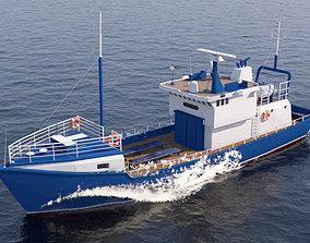 3D model Fishing Boat Ship Tourist Trawler Gameready VR