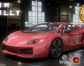 3D model game-ready Lamborghini Aventador Car Low Poly
