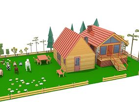 3D asset Cartoons Houses and Animals low-poly model