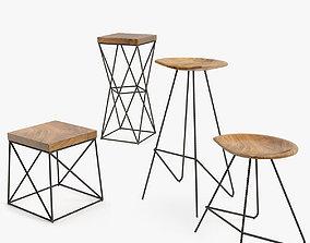 iron chair set 3D