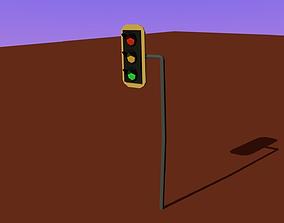 3D model low poly Traffic light