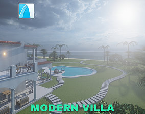 Modern Villa with Private Pool on 3D model 3