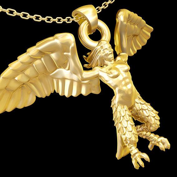 Harpy Wings Statue Sculpture pendant jewelry gold 3D print model