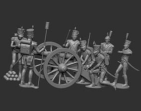 Gribeauval cannon 6x servants and 3D printable model 1
