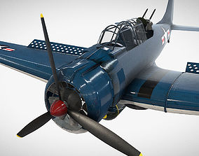 Low Poly PBR Game Ready Douglas SBD Dauntless 3D model
