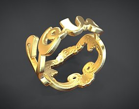 Love ring 3D model animated