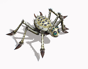 3D model Animated Funny Cartoon Insect White Spider