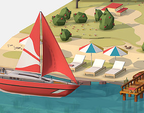 Isometric Red Yacht Scene MotorBoat Red 3D asset