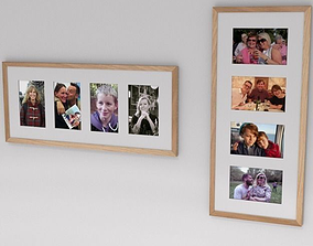 multi aperture picture frames with family and 3D model 3