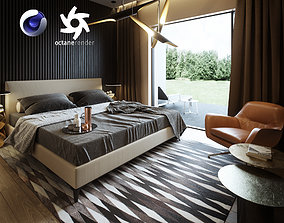 3D Bedroom Interior Scene for Cinema 4D and Octane Render