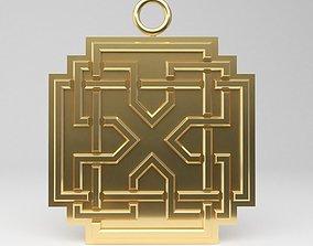 Celtic square pendant 3D printable model edge