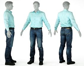 3D asset Male Casual Outfit 24 Green shirt Pants Shoes