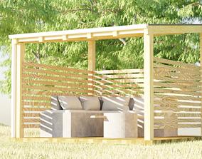 Outdoor seating scene 3D model
