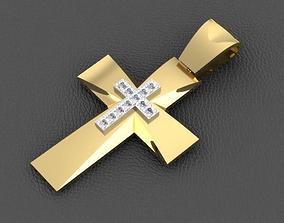 3D printable model Golden Cross with Diamonds