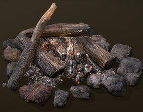 3D asset low-poly The Bonfire