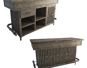 Industrial Metallic Counter 3D model