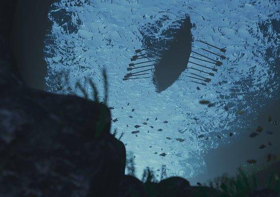 Viking Ship through Water
