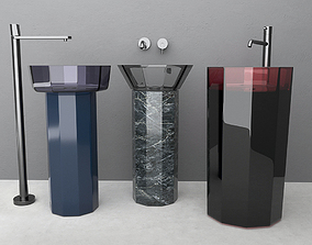 faucet Set Wash basin Antonio Lupi 3D model