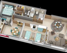 appartement floor plan 78m 3D